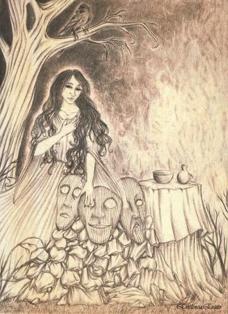 Podczas wykonywania rytuałów rozstawiano dookoła tzw. karaboszki / kraboszki, maski wykonane z drewna, które miały symbolizować dusze zmarłych. Warto o nich pamiętać, gdyż są słowiańskim ekwiwalentem halloweenowych dyni, które swój początek mają w tradycji celtyckiej. Autorka: EvelineaErato ©