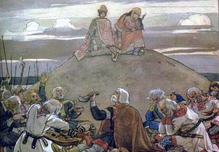 W. Wasniecow, Tryzna po śmierci Olega (1899).