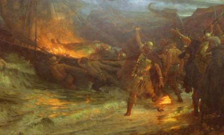 Pochówek ciałopalny był praktykowany również wśród innych ludów pogańskich, m.in. u Wikingów, którzy uposażonego zmarłego układali w łodzi, podpalano, a następnie zwracano morzu.