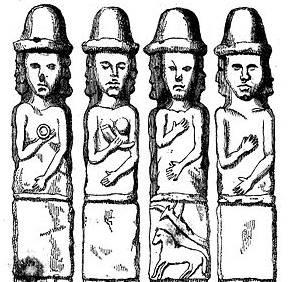 Górna część wyobrażeń ze słynnego idola ze Zbrucza, ochrzczonego przez Joachima Lelewela mianem Światowida. Najbardziej znany materialny dowód pogańskiego kultu dawnych Słowian, którego słowiańskość jest do dziś podważana przez niektórych naukowców.