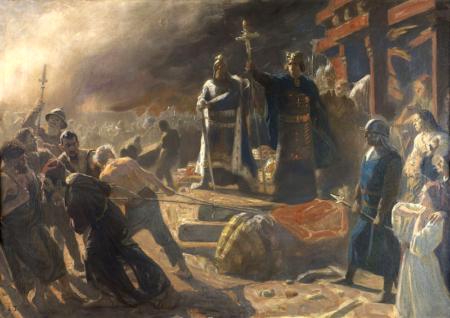 Laurits Tuxen, Biskup Absalon obala posąg Świętowita w Arkonie.