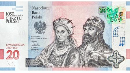 Specjalna edycja banknotu dwudziestozłotowego wypuszczonego przez Narodowy Bank Polski z okazji 1050-lecia chrztu Polski.