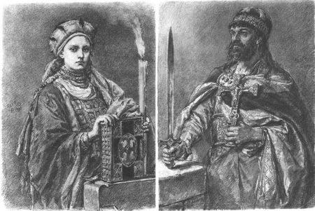 Portrety Dobrawy i Mieszka autorstwa Jana Matejki.