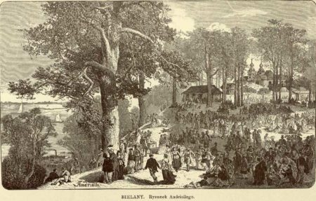 Rycina przedstawiająca obchody Zielonych Świątek na Bielanach.